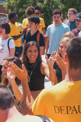 DePauw students walk to opening convocation