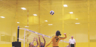 Sophomore, Suzanne Peters, attacks the ball to help the Tiger's win their set. DAVID KOBE / THE DEPAUW