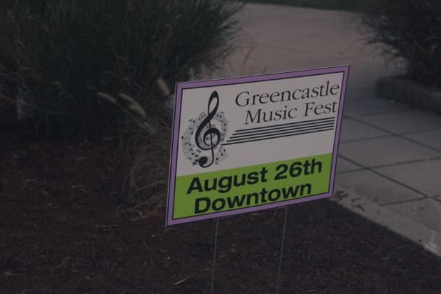 The Greencastle Music Fest sign