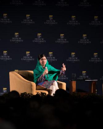 Malala addresses the crowd