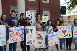 Student supporters of DACA talk at solidarity event