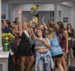 CMYK-A group of Pi Beta Phi girls cheer after the Sophomore and Junior winner were announced from their houseNATALIE BRUNINITHE DEPAUW